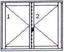 Right double-wing opening window without middle post