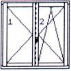 Right double-wing opening & tilting/opening window without central post