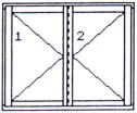 Left double-wing opening window without middle post
