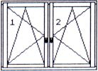 Double-wing twice tilting/opening window, with central post