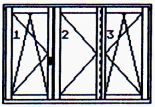 Triple-wing window, twice tilting/opening, once opening one only