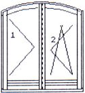 Right double-wing opening & opening/tilting arched balcony door without central post