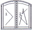 Right double-wing opening & opening-tilting arched window without middle post