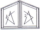 Double-wing twice opening/tilting skewed window, with central post