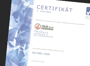 The holder of certificate ISO 9001