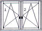 tvary oken - okno dvoukřídlé 2krát otvíravě sklopné se středním sloupkem