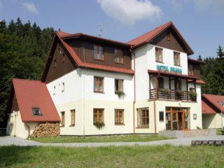 dřevěná okna na hotelu v orlických horách