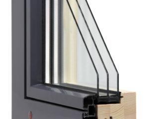 průřez dřevohliníkovým oknem alu plus