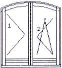 tvary oken a balkonových dveří - balkonové dveře dvoukřídlé obloukové otvíravé/otvíravě sklopné pravé bez středního sloupku