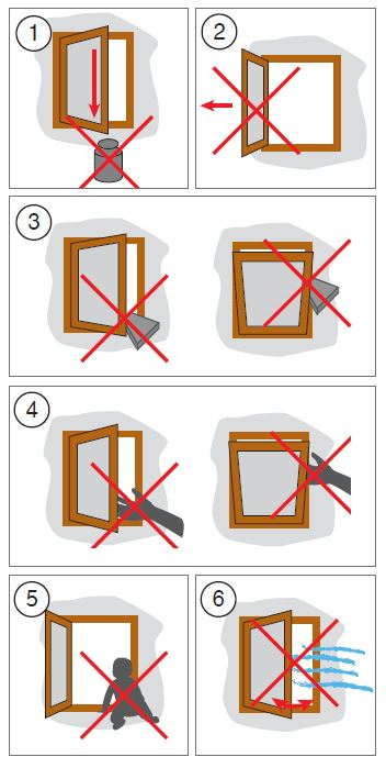 návod k obsluze - bezpečnostní pokyny pro manipulaci s okenním křídlem